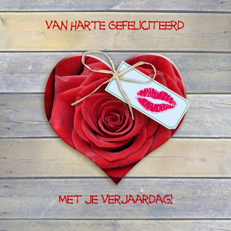 Roos in vorm van hart kusje 1