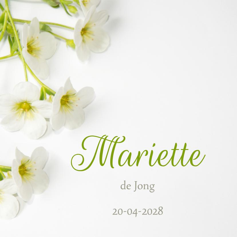 Rouwkaart aankondiging bloemen