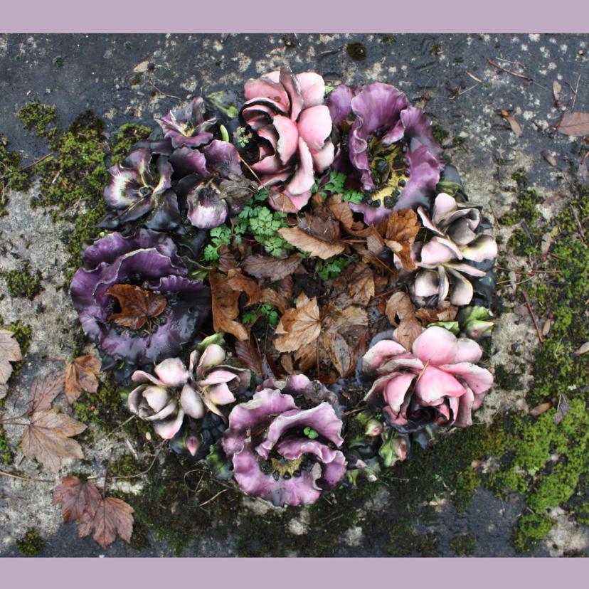 Rouwkaart Bloemen van keramiek