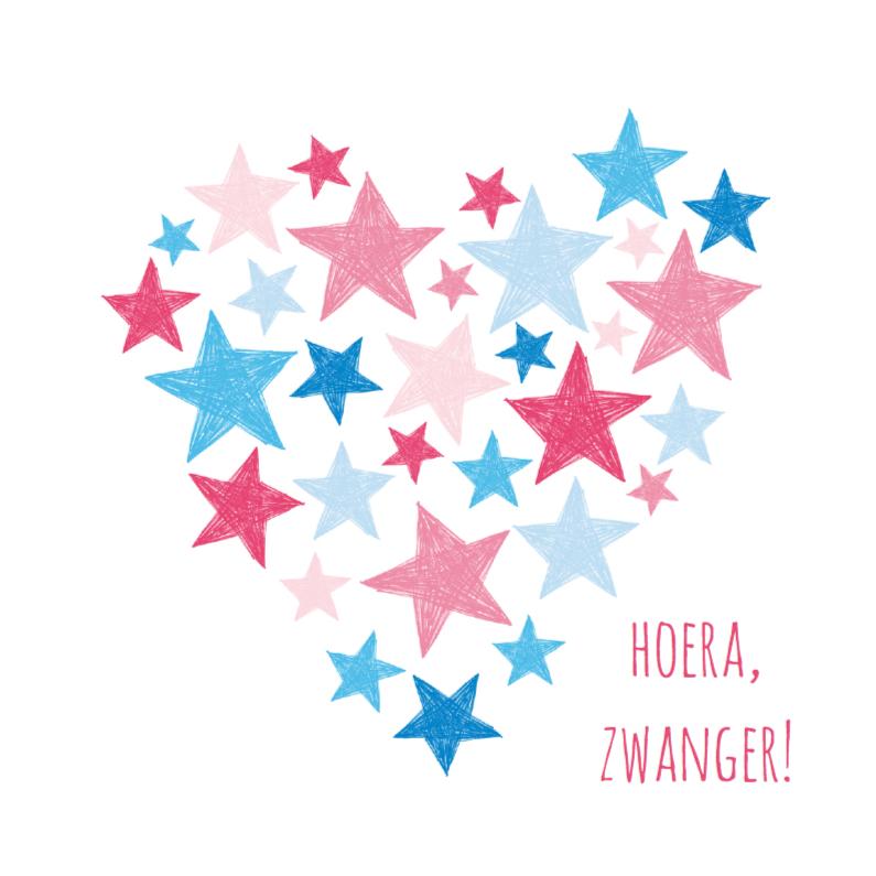 Roze en blauwe sterren in hart 1