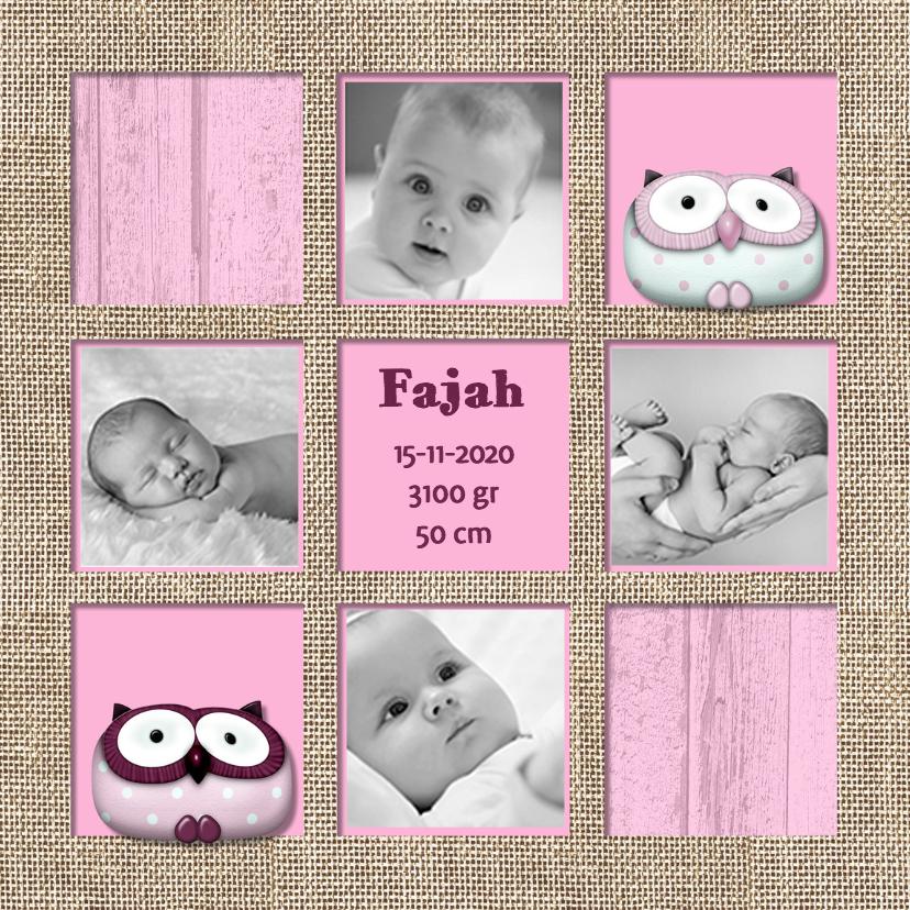 Roze geboortekaart vakken 1