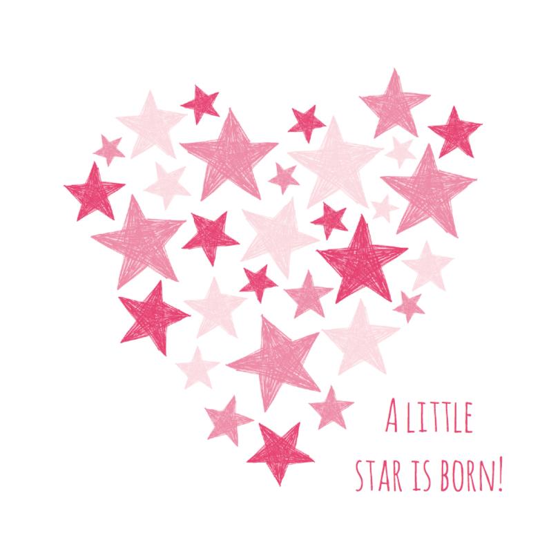 Roze hart met sterren  1