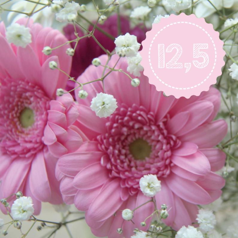 Roze jubileumkaart 12.5 1