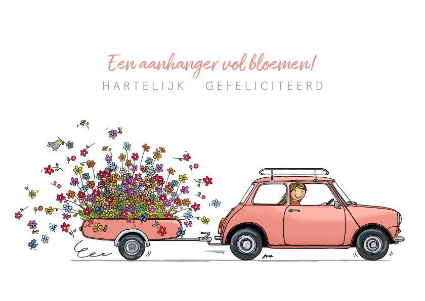 Roze Mini cooper met bloemen 1