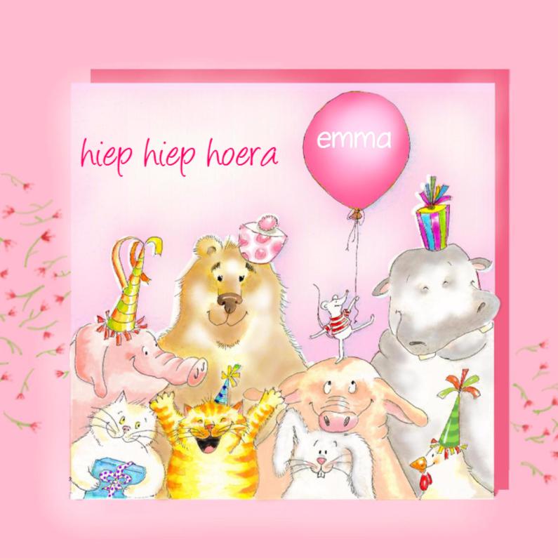 Roze verjaardag dieren kaart 1