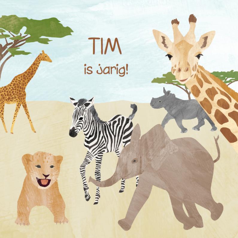 Safari dieren verjaardagskaart  1