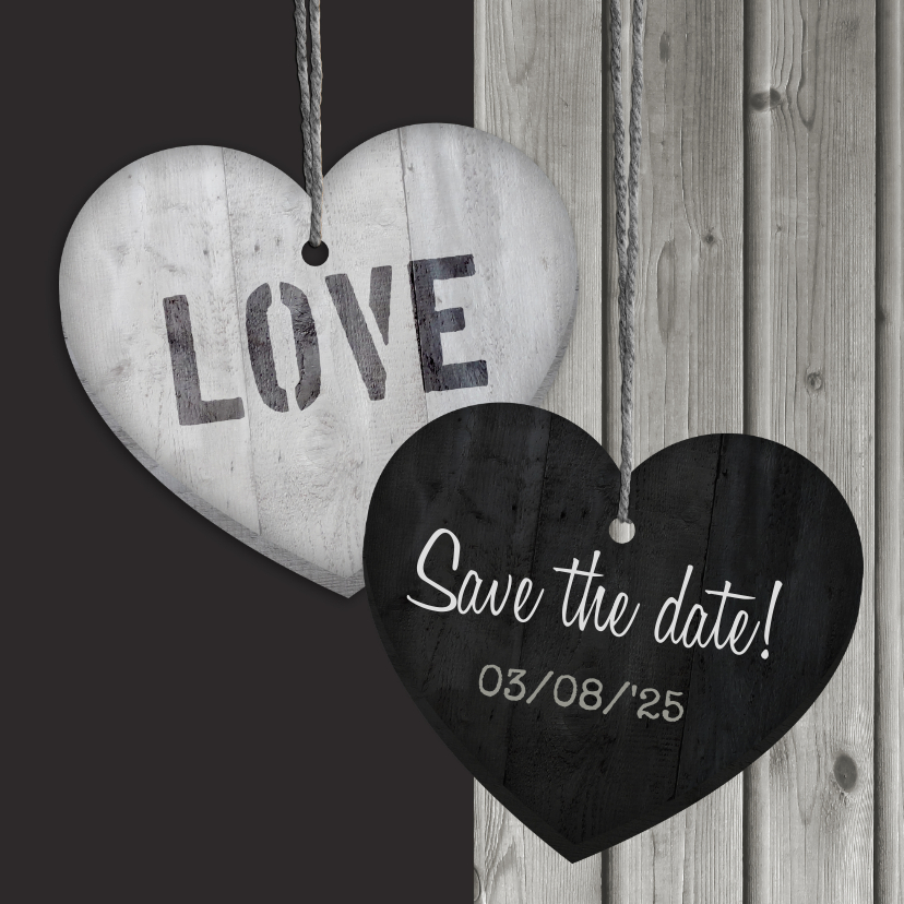 Save the date Hout Hart hangers 1