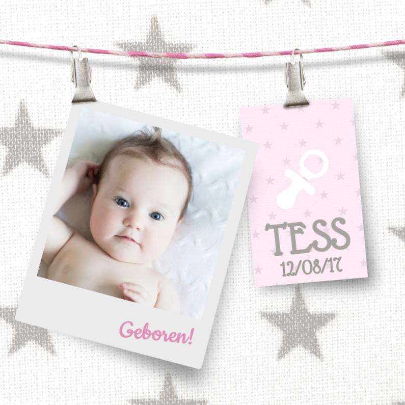 Schattig oud roze geboortekaartje 1