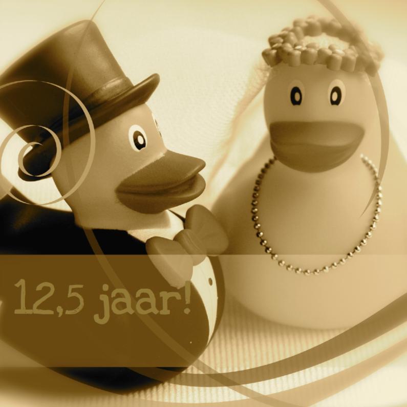 Sepia bruidspaar-eendjes jubileumkaart 1