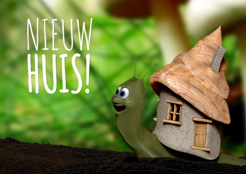 Slakje met nieuw huis verhuiskaart 1