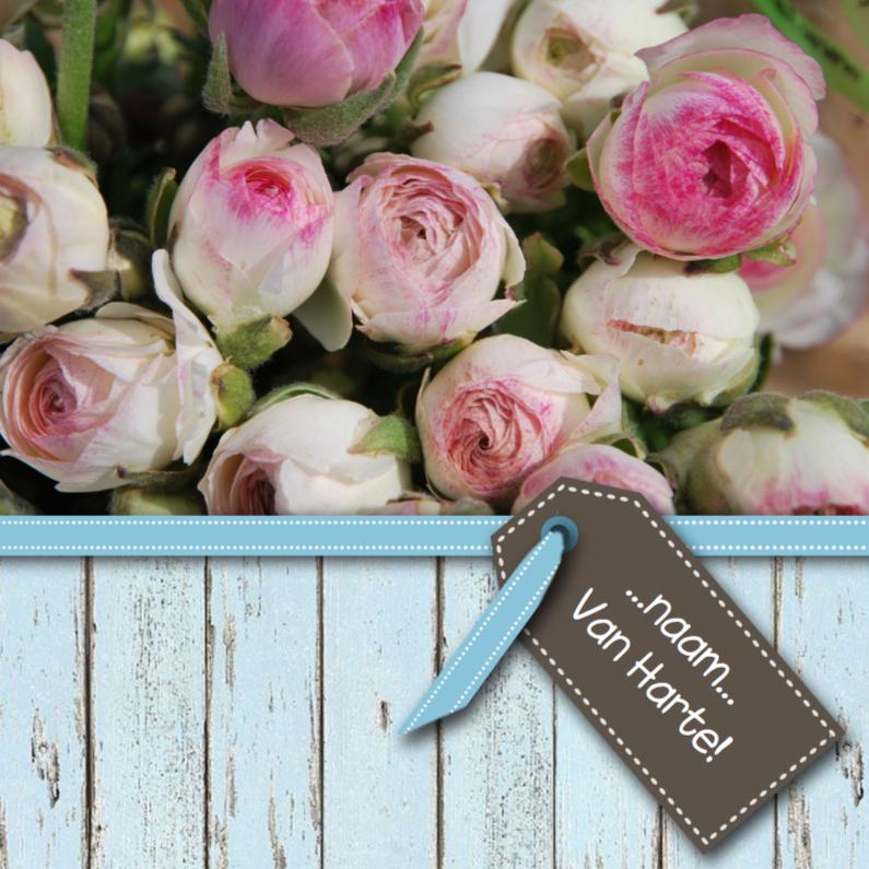 Sloophout blauw met rozen roze 1