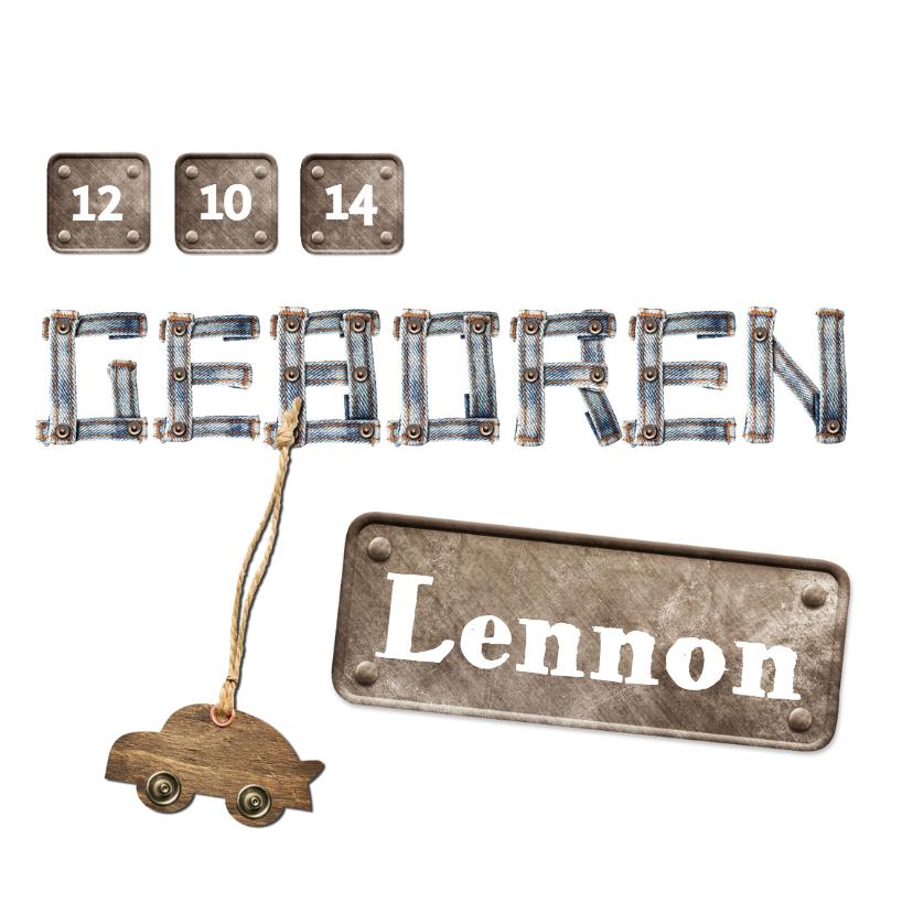 Spijkerstof letters geboortekaartje 1