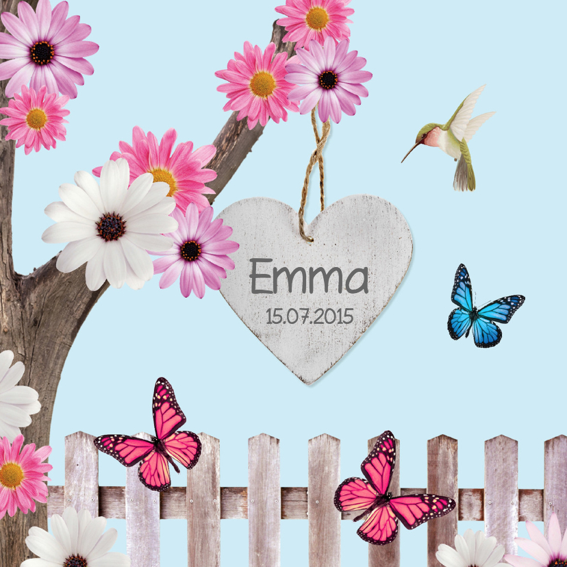 Sprookjes geboortekaartje met vlinders 1