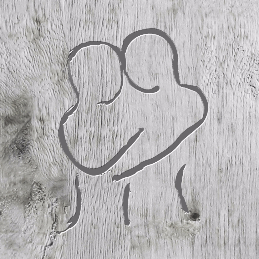 Stel gekerfd in hout  liefde- trouwkaart 1