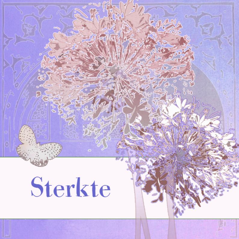 Sterkte Kaart Met Bloemen En Vlinder 1