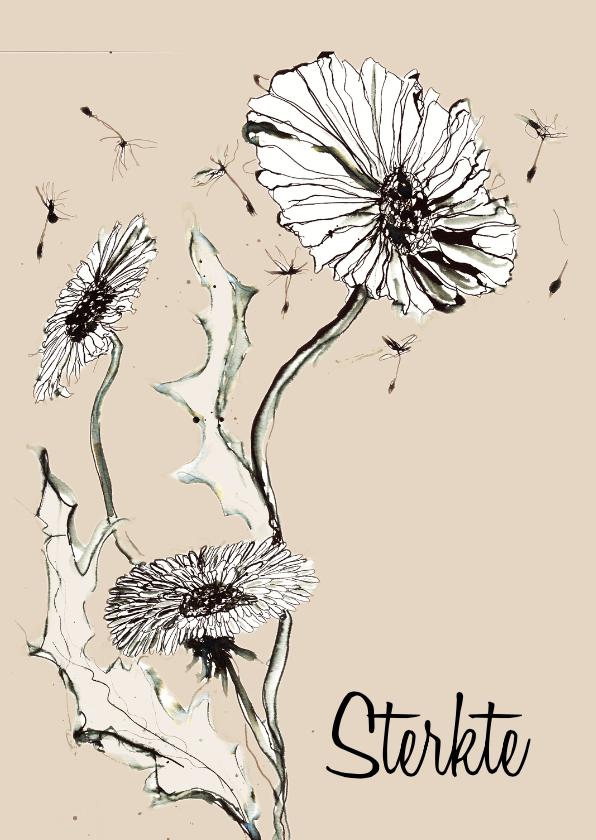 Sterktekaart inkt bloem 1