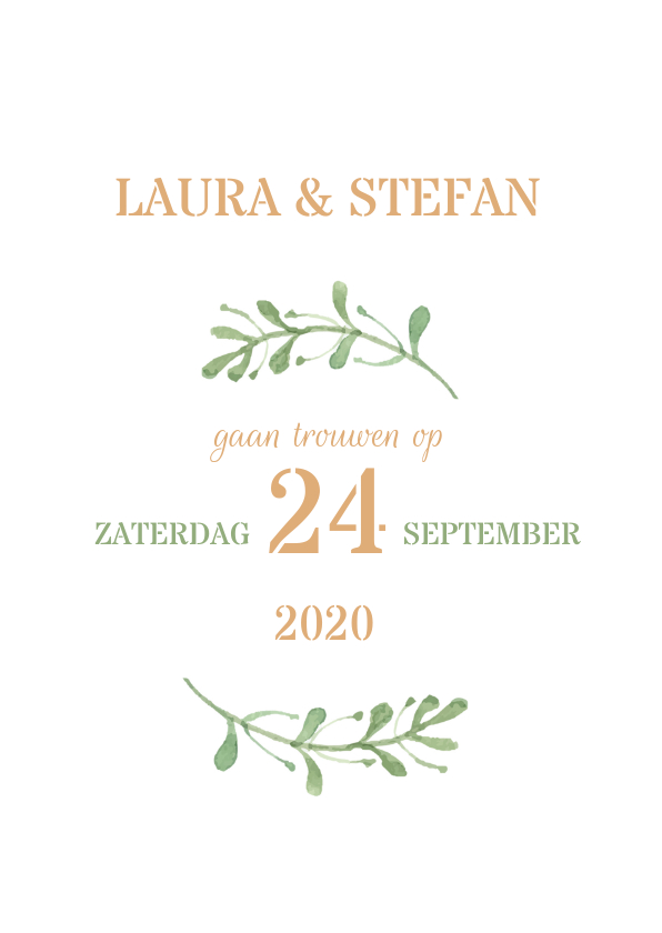 Stijlvolle trouwkaart met takjes 1