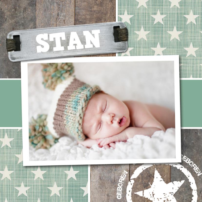 Stoere foto geboortekaart 1
