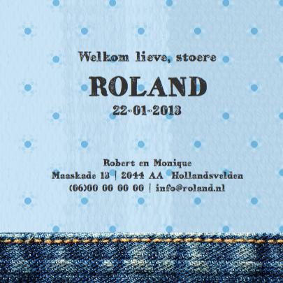 Stoere uitnodiging met jeans en strepen 3