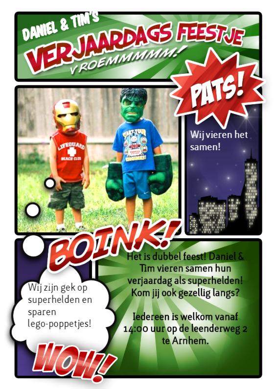 Stripboek kinderfeestje groen 1
