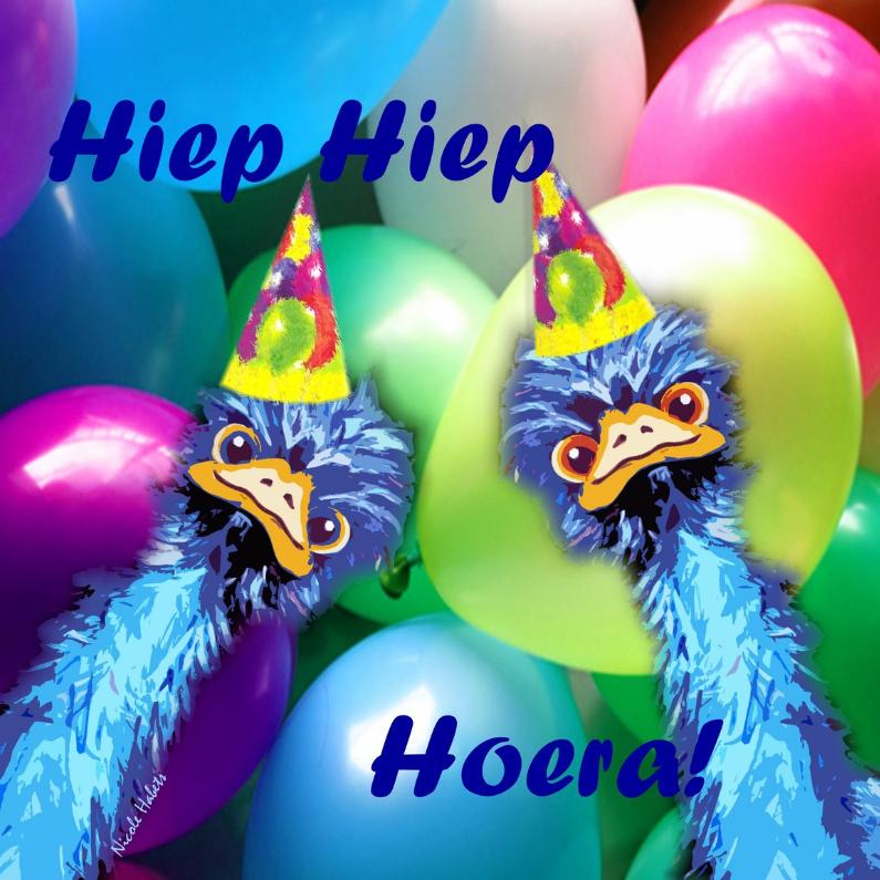 Struisvogel Verjaardag hoera 1