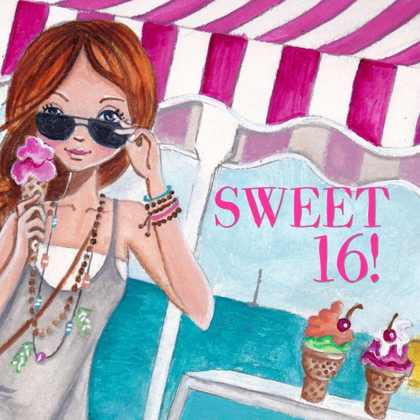 Sweet 16 Strand Zee Feest Illustratie 1