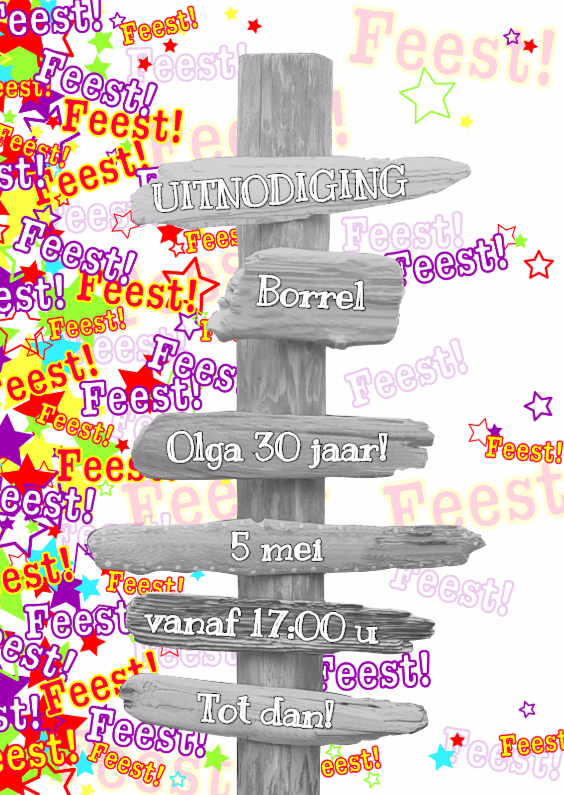 Trendy uitnodiging FEEST S 1
