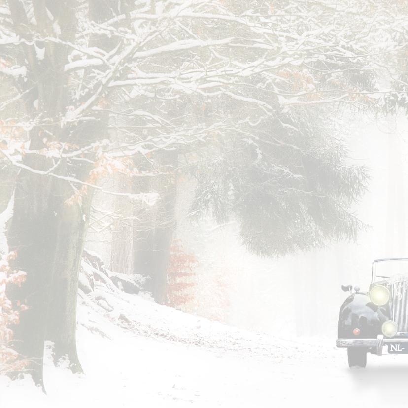 Trouwen met zwarte oldtimer -sneeuw- 2