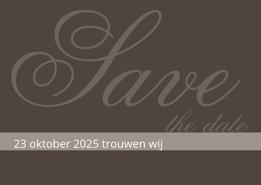 Trouwkaart Antraciet Save the date 1
