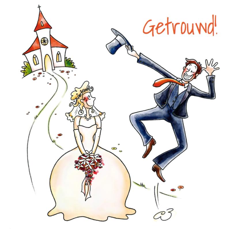 Trouwkaart Bruidegom springt 1
