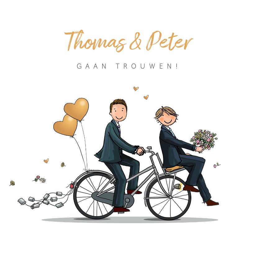 Trouwkaart bruidegommen huwelijk fiets 1