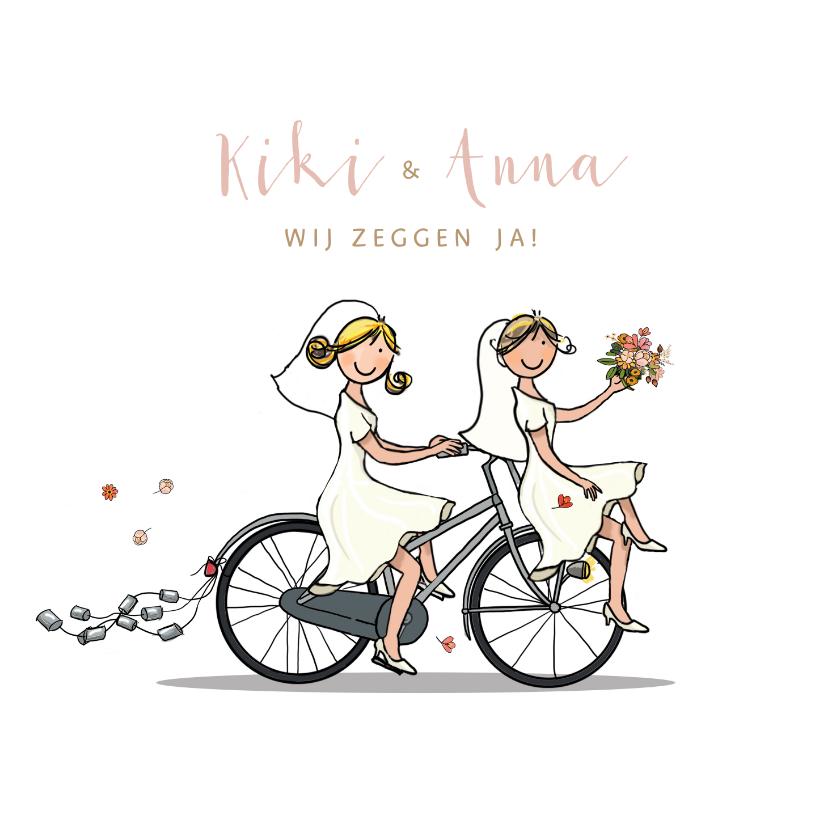 Trouwkaart bruiden fiets en molen 1