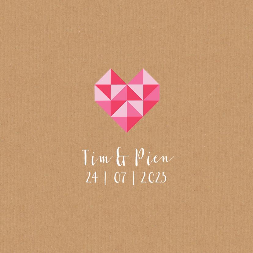 Trouwkaart geometrisch hart 1