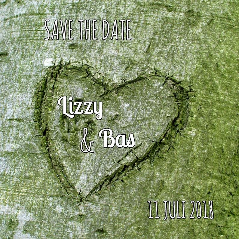 Trouwkaart hart in boom 1