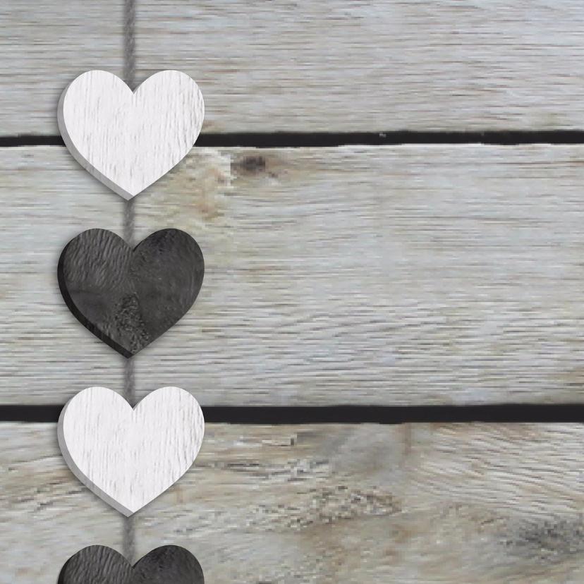 Trouwkaart hart slinger op hout 2