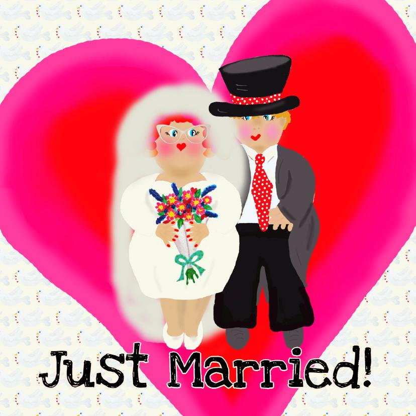 Trouwkaart harten huwelijk PA 1