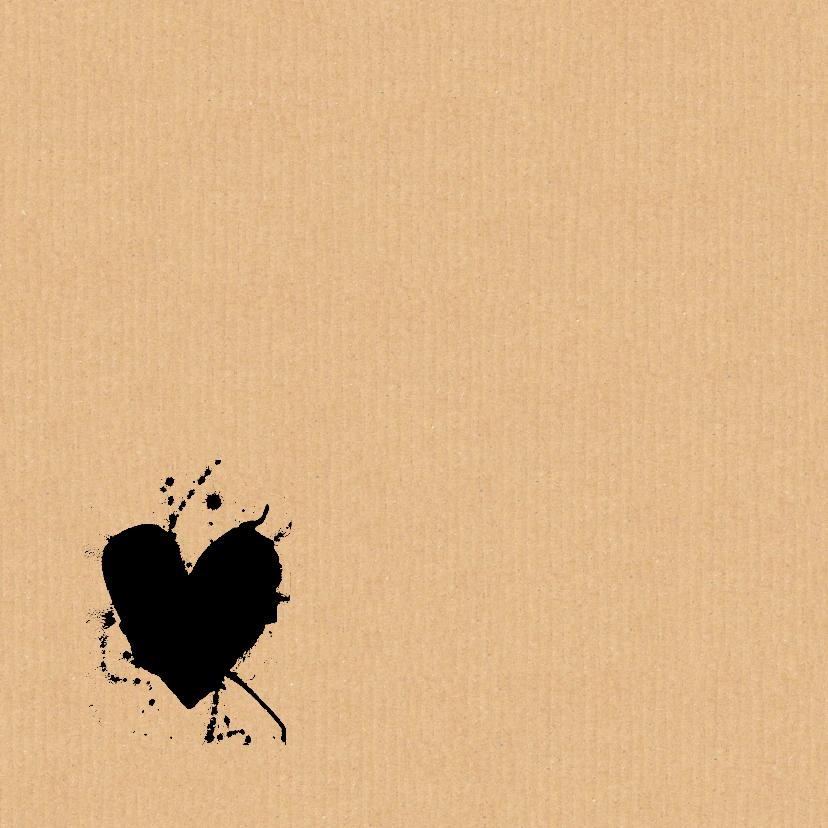 Trouwkaart karton hart zwart 2