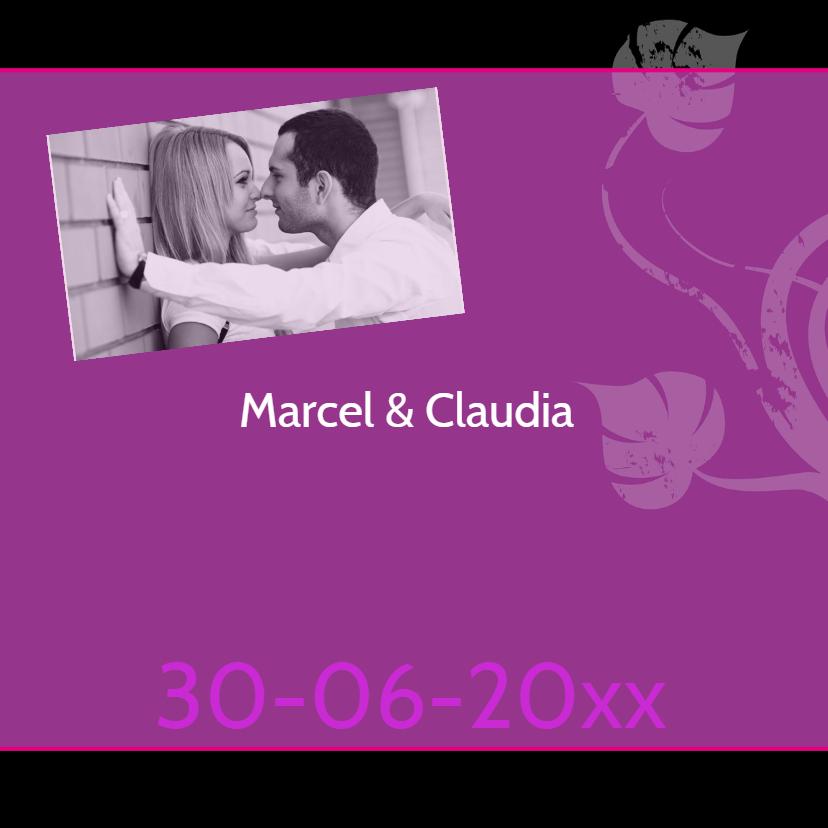 trouwkaart met foto paars-SZ 1