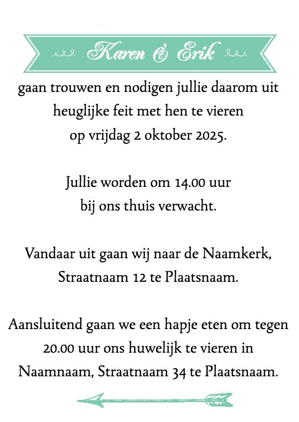 trouwkaart met leuke typografie 3