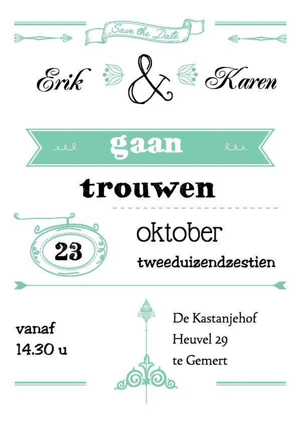 trouwkaart met leuke typografie 1