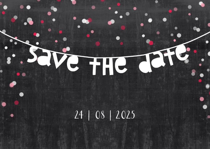 Trouwkaart save the date krijt 1