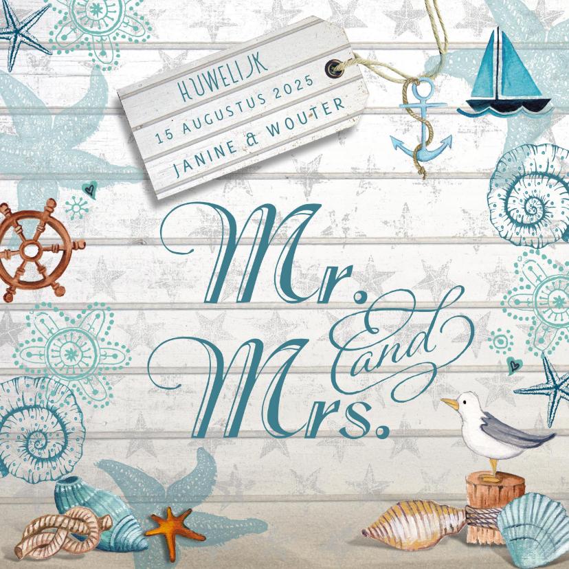Trouwkaart strand zee mr mrs trouwkaarten kaartje go
