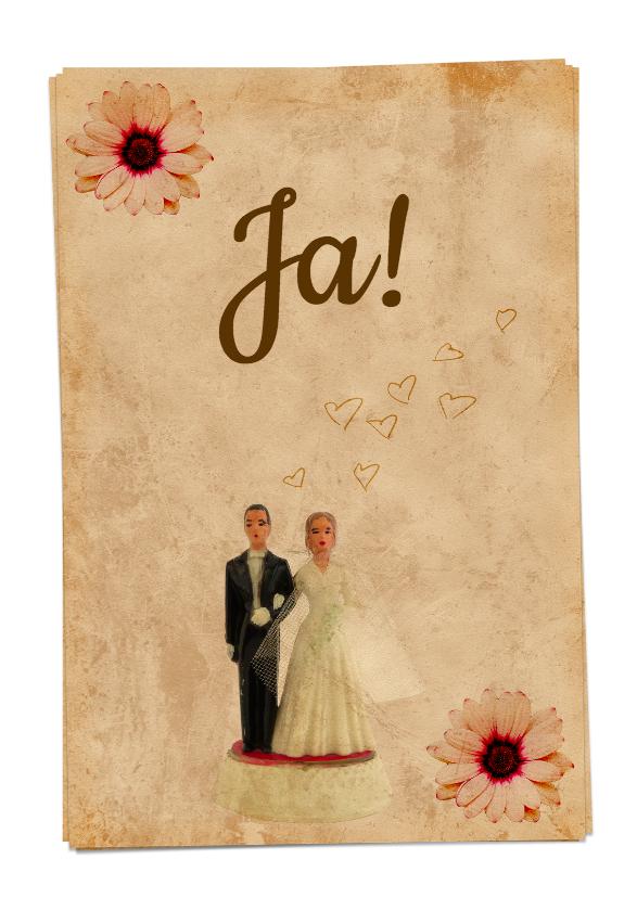 Trouwkaart vintage bruidspaar-HR 1