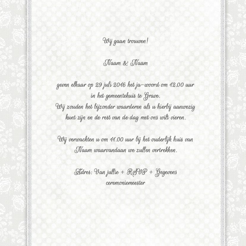 Trouwkaart witte rozen/stippen 3