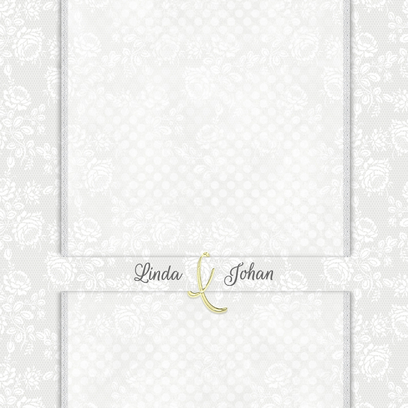 Trouwkaart witte rozen/stippen 1
