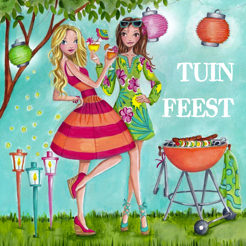 Tuinfeest BBQ Party Tuin Illustratie 1