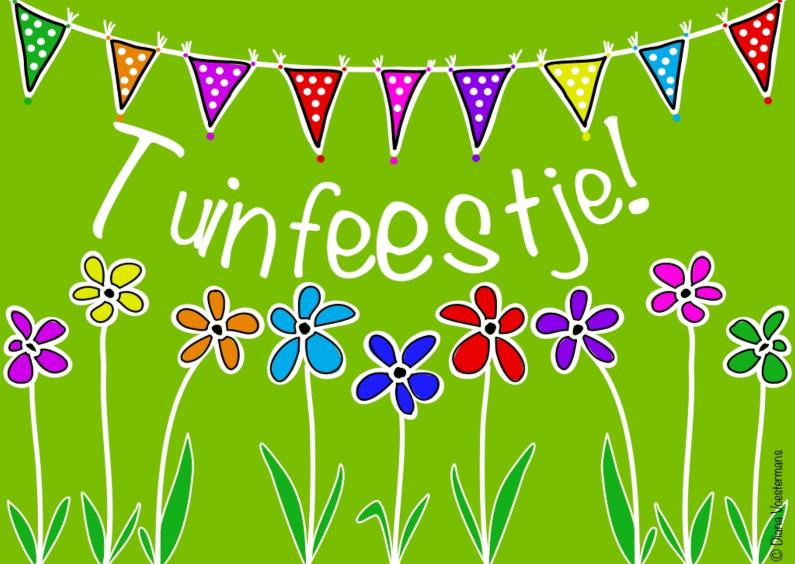 Tuinfeestje bloemen en slingers 1