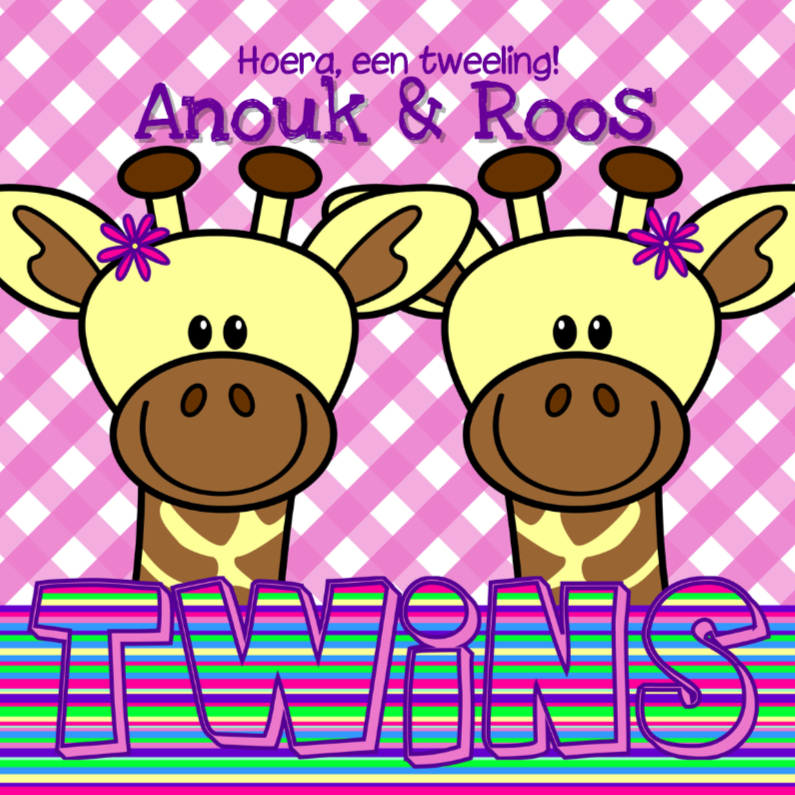 Tweeling meisjes giraffes 1