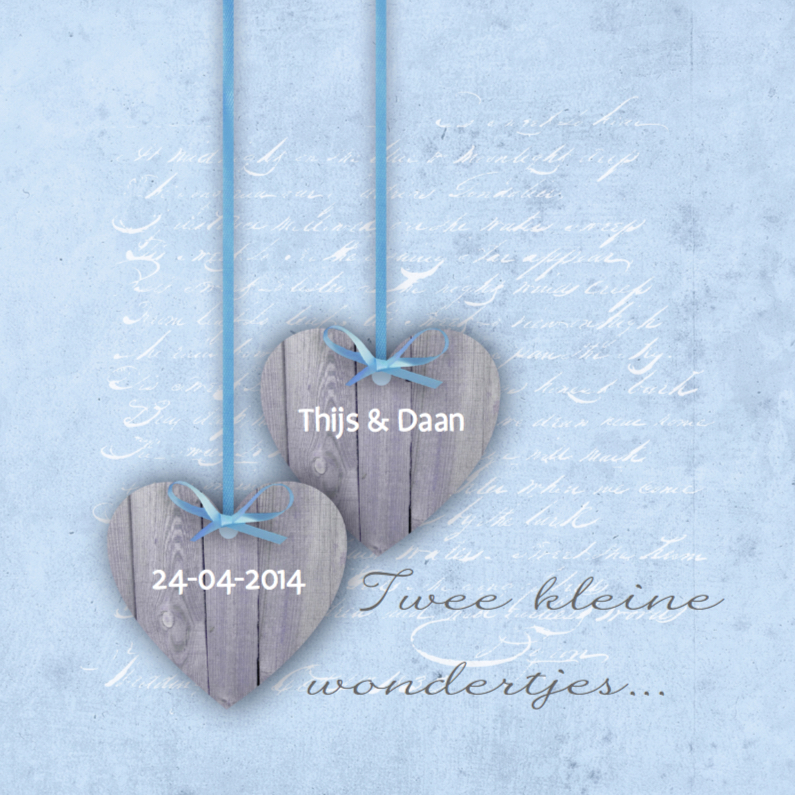 Tweeling Two Hearts Blauw 1