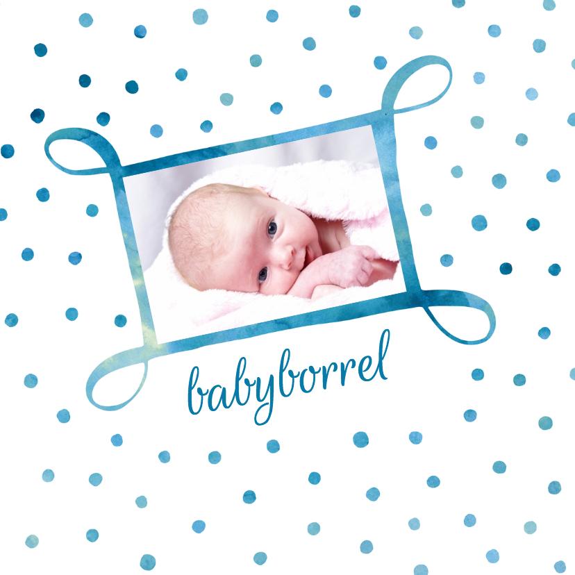 Uitnodiging babyborrel met foto 1